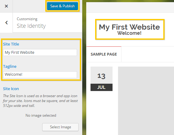 Changing the site title with WordPress customizer