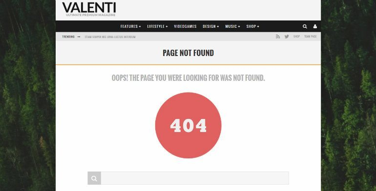 fix 404 errors in WordPress: example 404 page