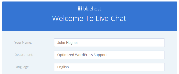 Bluehost review for WordPress: A screenshot of the initial Bluehost live chat screen.