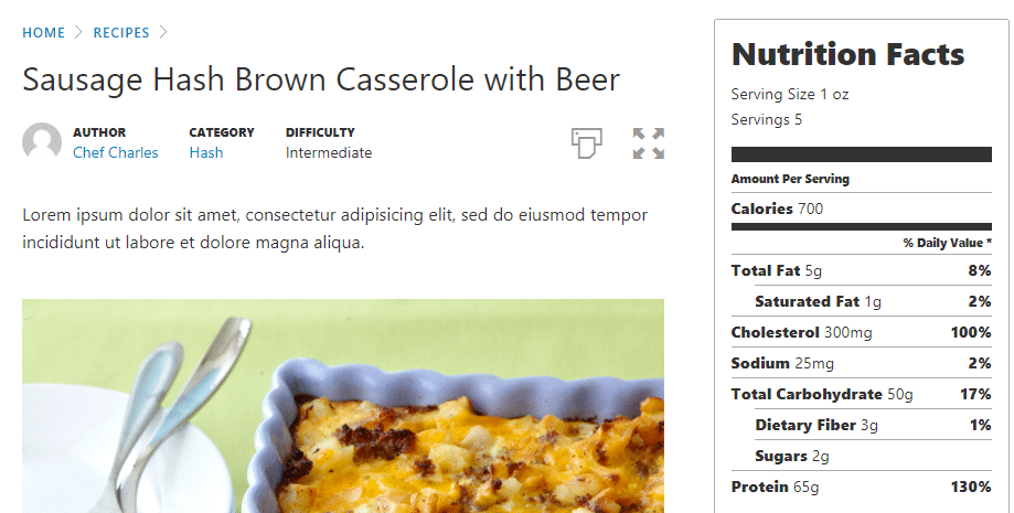 3 easy ways to add recipes to wordpress without code an example of a recipe made using the cooked plugin forumfinder Choice Image