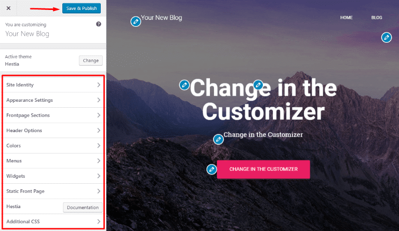 Using the WordPress customizer