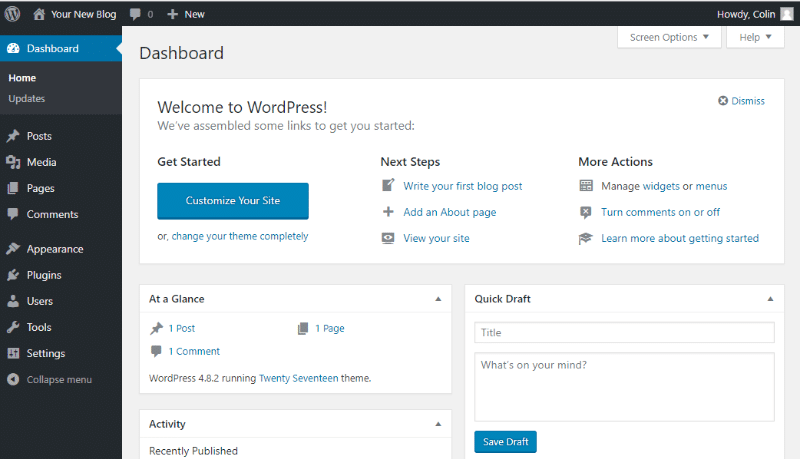 Your WordPress dashboard