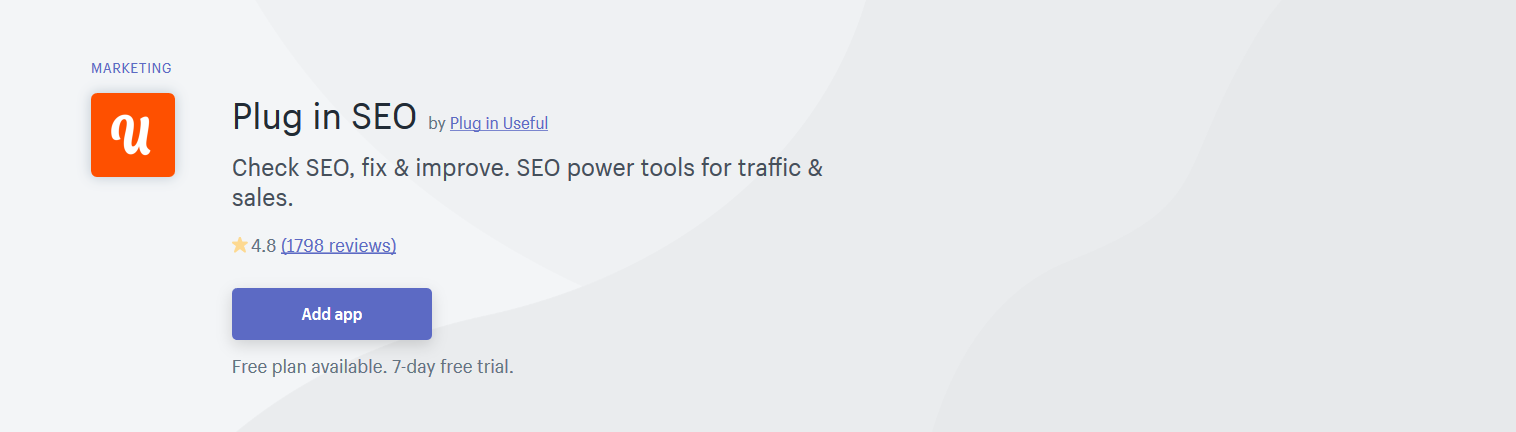 Plug in SEO is one of the best Shopify apps for SEO