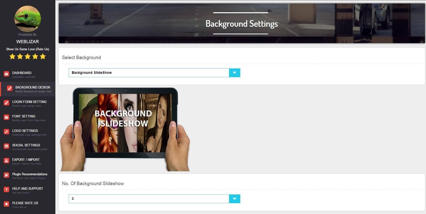 background custom login plugin