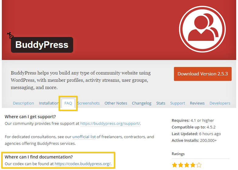 Viewing the BuddyPress WordPress Plugin's FAQs