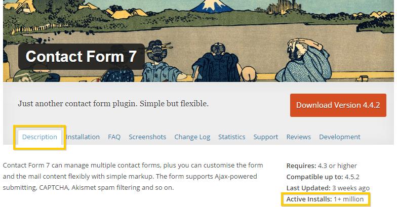 Viewing Contact Form 7's WordPress Plugin Active Installtions