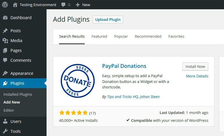 Install PayPal Donations