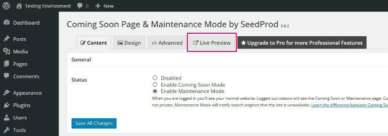 Preview Maintenance Mode
