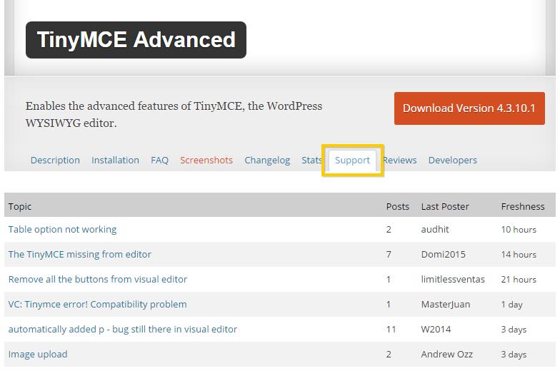 Viewing the TinyMCE WordPress Plugin support forum