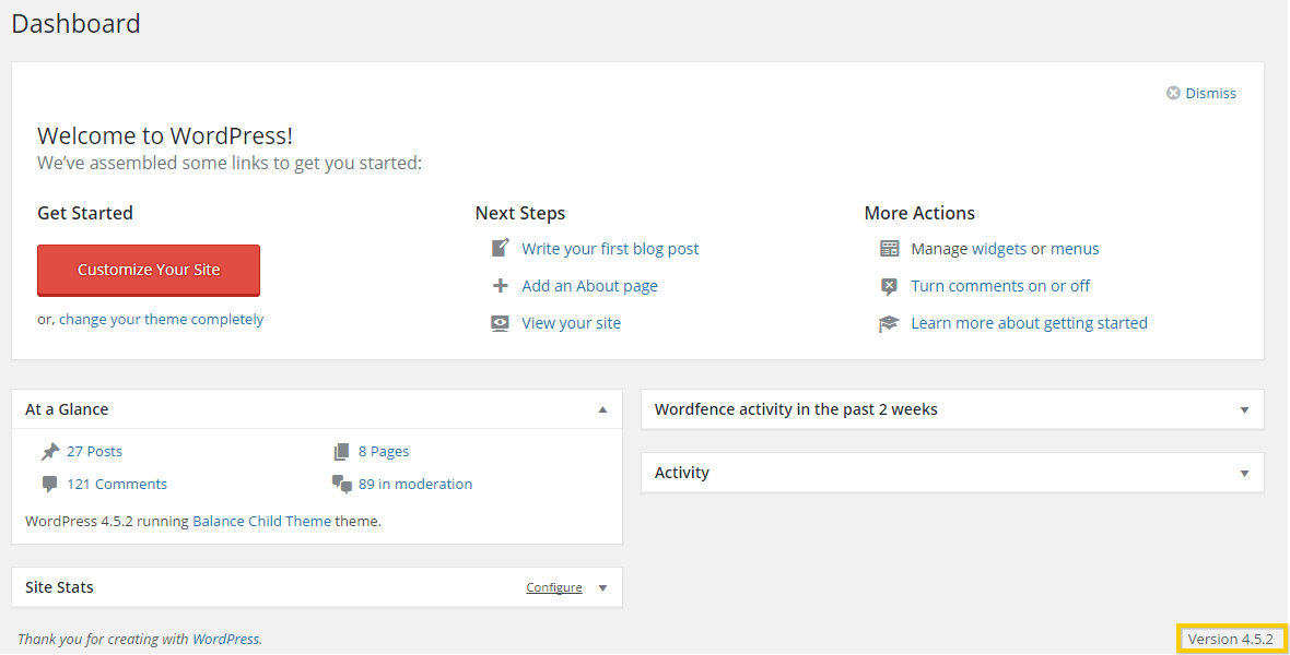 Checking the version of WordPress currently running
