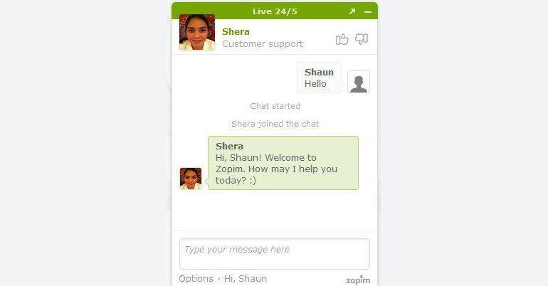 Captura de pantalla de Zopim Chat Box