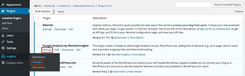 google-analytics-wordpress-plugin-settings