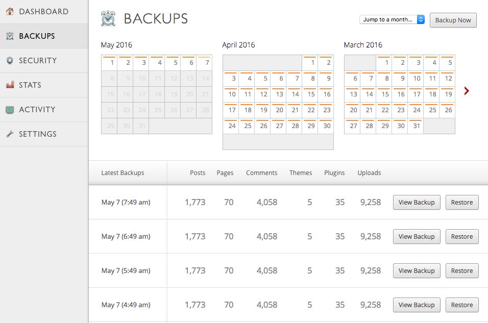 VaultPress backups interface