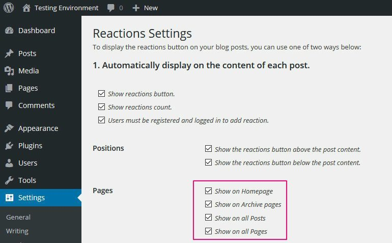 Final configuring DW Reactions to add Facebook Reactions to WordPress
