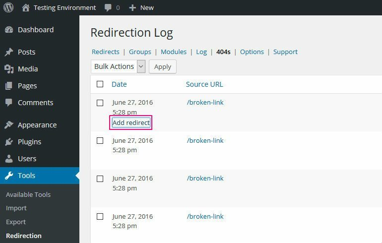 Redirection Add Redirect