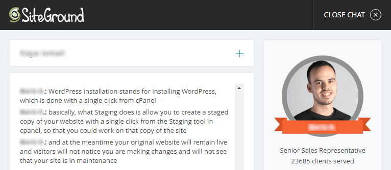 Asking questions via SiteGround's Live Chat system