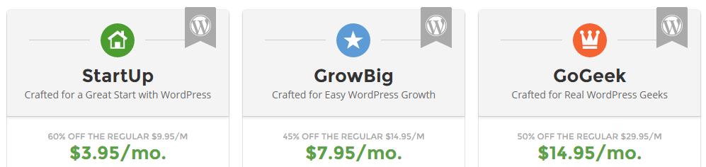 A screenshot of SiteGround's WordPress plans.