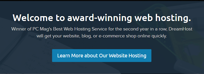 A screenshot of DreamHost's homepage.