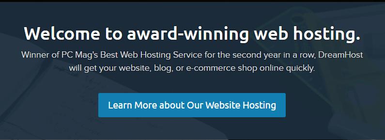 A screenshot of DreamHost's homepage.