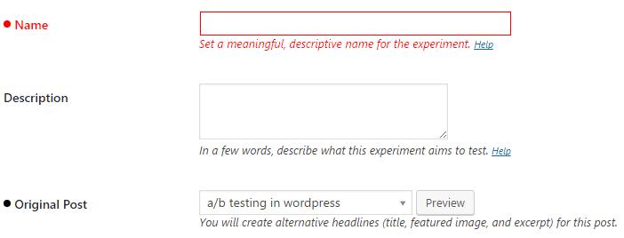 Setting your Headline Experiment details.