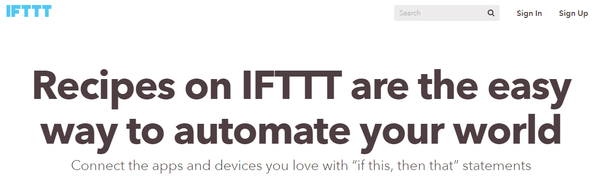 A screenshot of the IFTTT homepage.