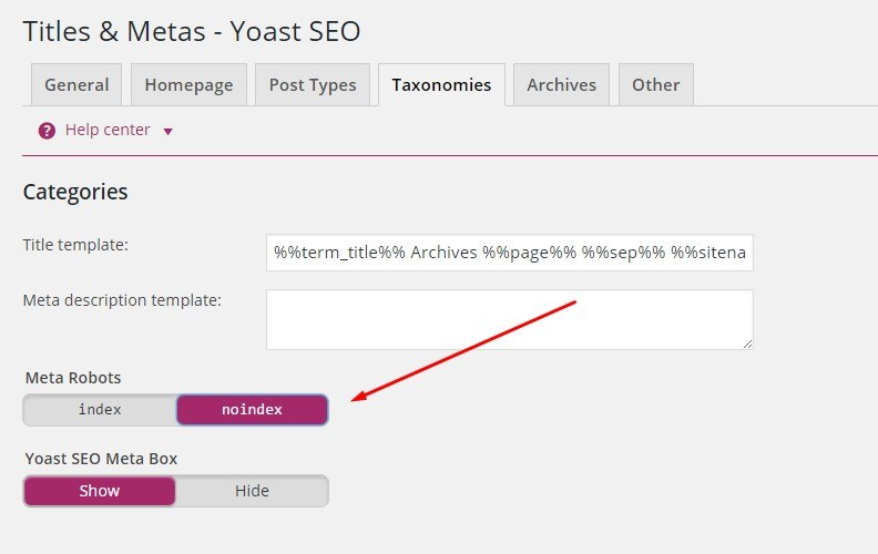 Noindexing categories and tags in WordPress