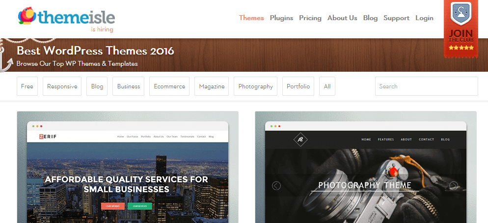 A screenshot of our theme catalog.