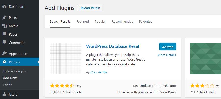 How to reset WordPress: Install WordPress Database Reset Plugin