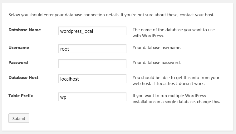 WordPress database connection details.
