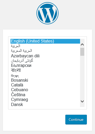 WordPress' language selector.