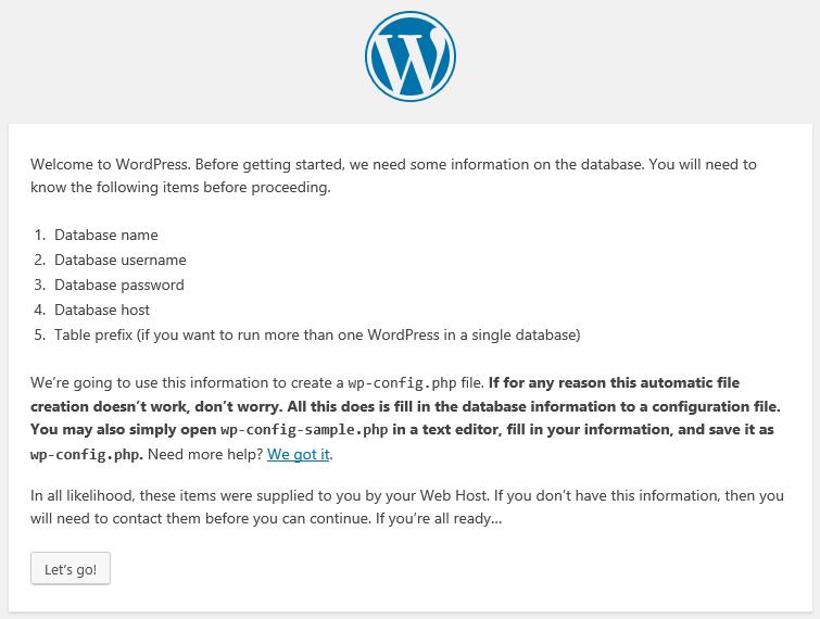 Instructions during the WordPress setup process.