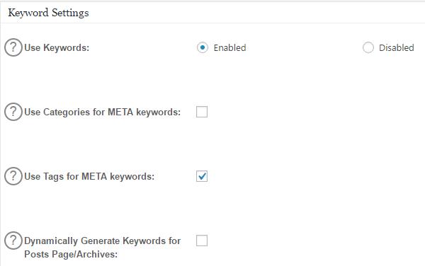 All In One SEO's keyword settings.