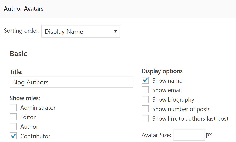 The Author Avatar Lists widget settings.