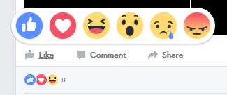 A screenshot of a Facebook reaction section.
