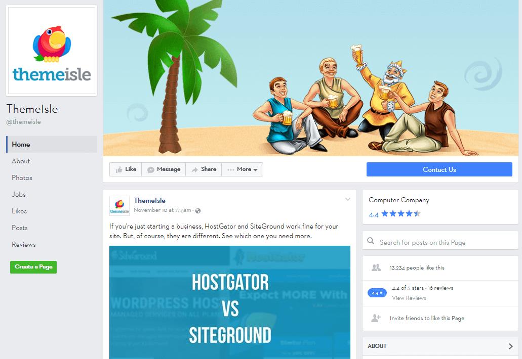 ThemeIsle's Facebook feed.