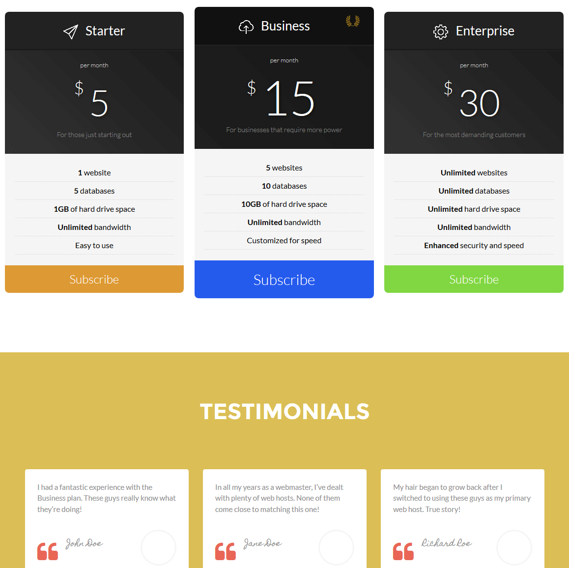 A pricing table and a testimonial section.