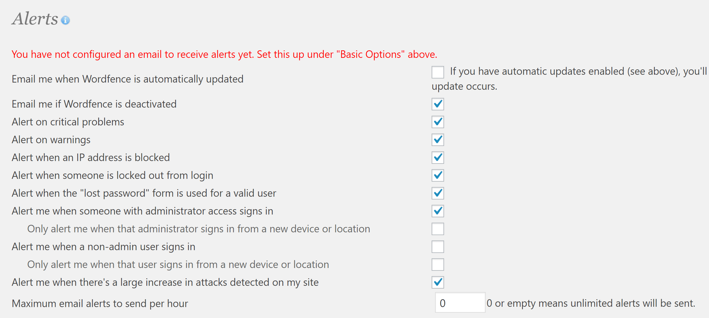 The Wordfence Security Alerts settings.