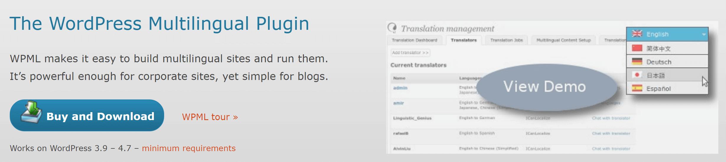 The WPML plugin.