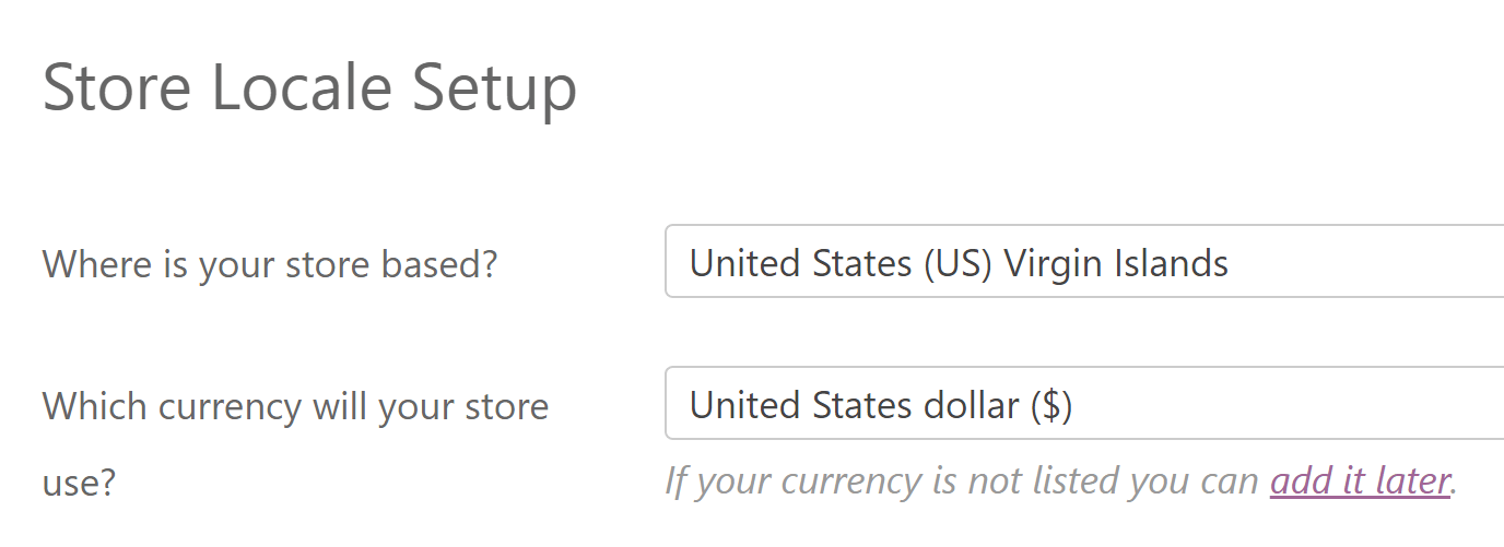 The option to choose your store's currency.