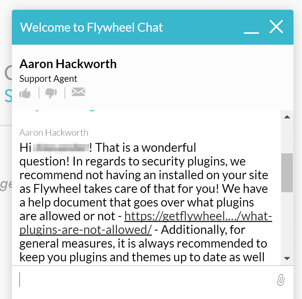 Flywheel support chat