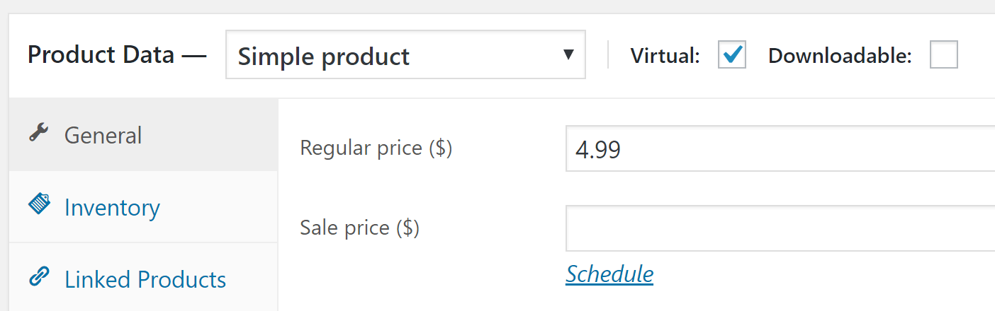An example of setting a product's price.