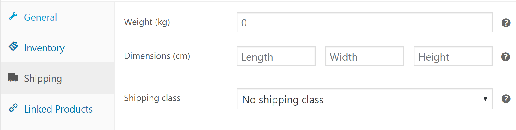 Your product's shipping options.