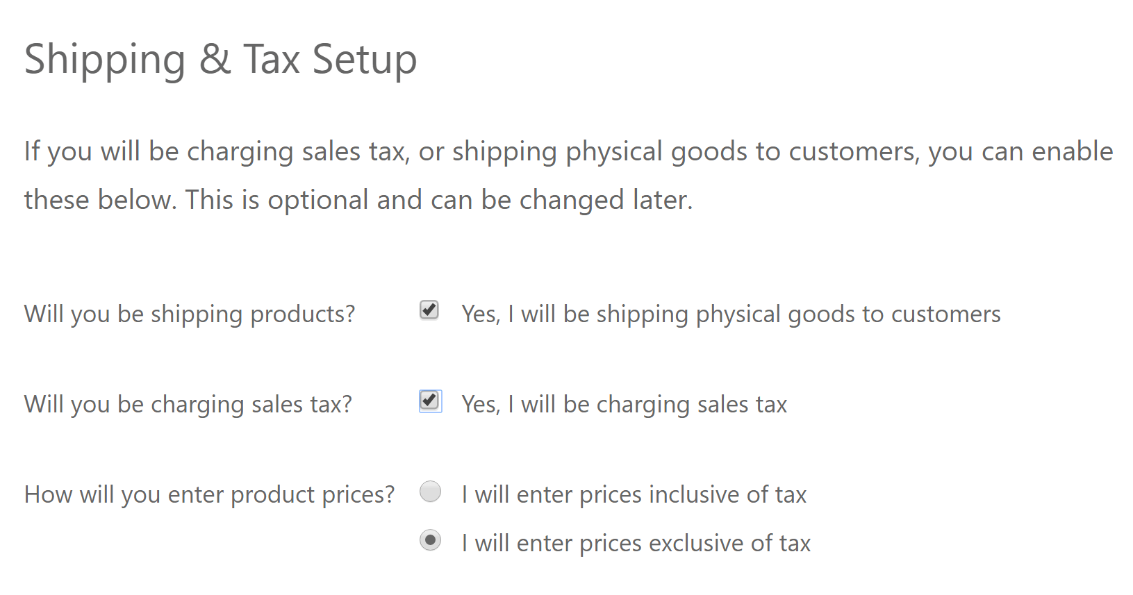 You WooCommerce shipping and tax settings.