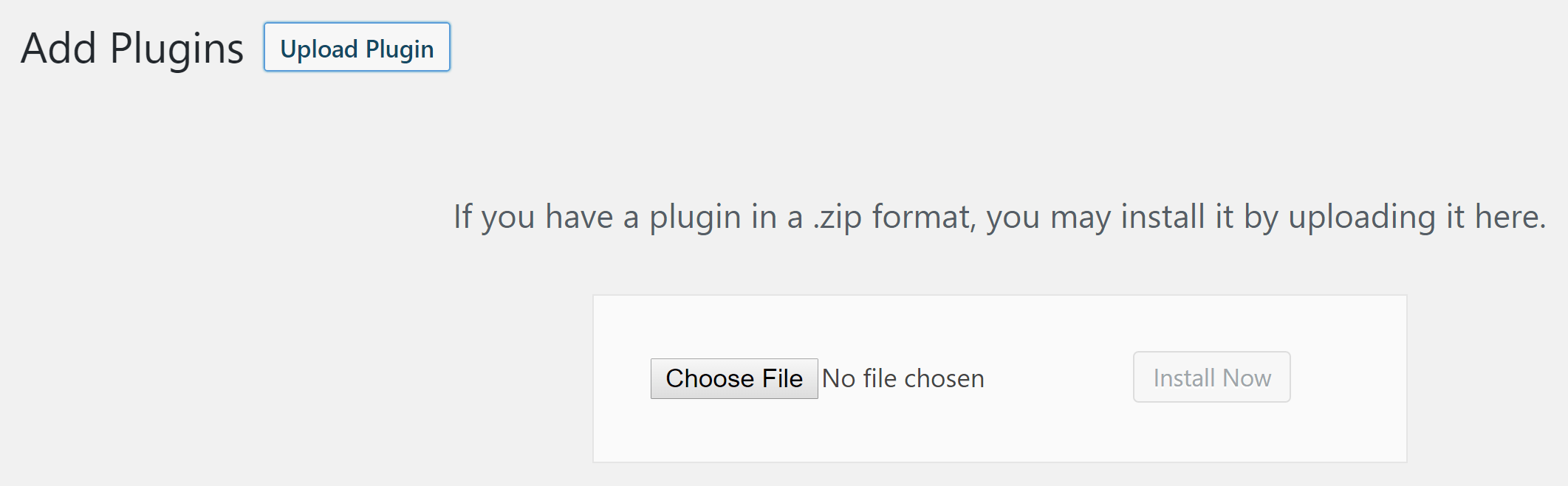The option to upload a plugin to WordPress.