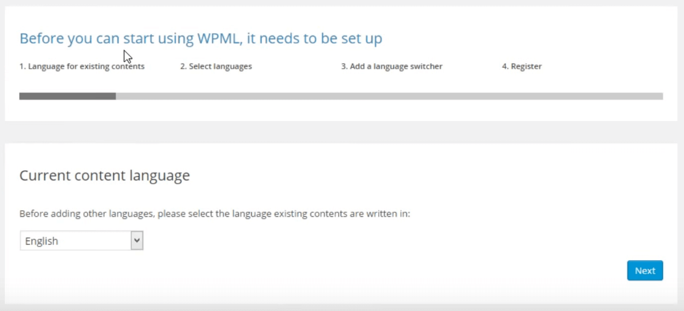 The option to confirm your site's current language.