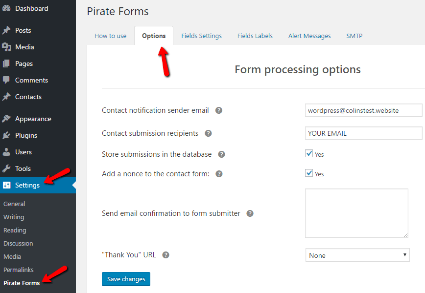 Pirate Forms options