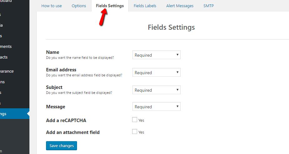 fields settings