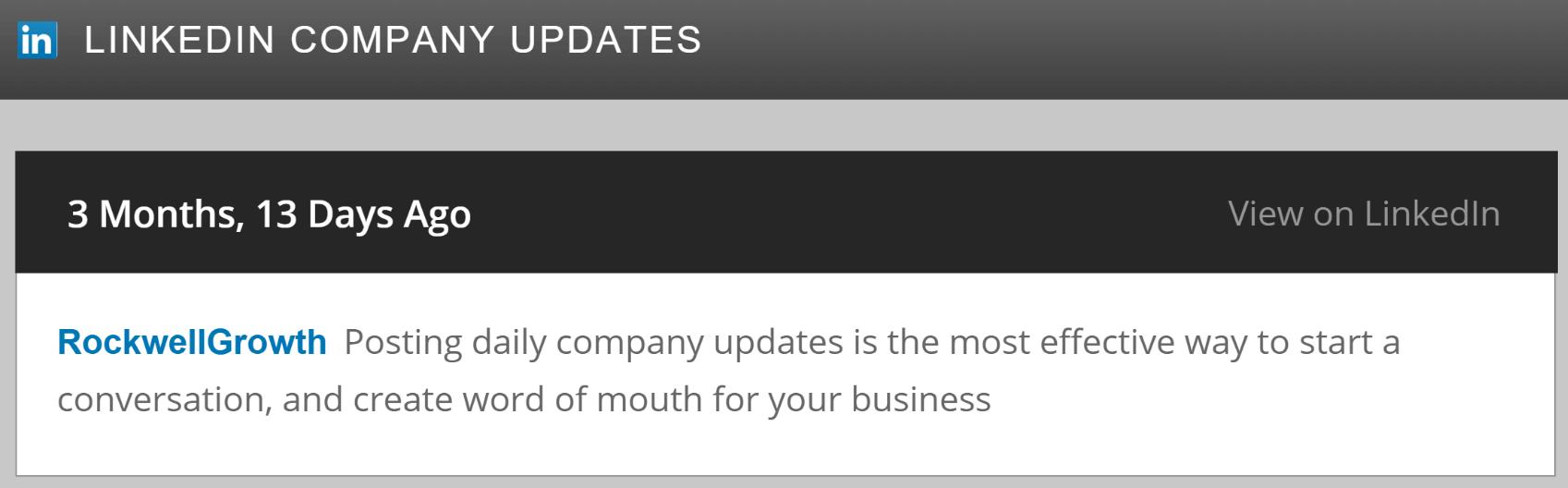 Integrate WordPresswith LinkedIn: An example of a company feed in WordPress.