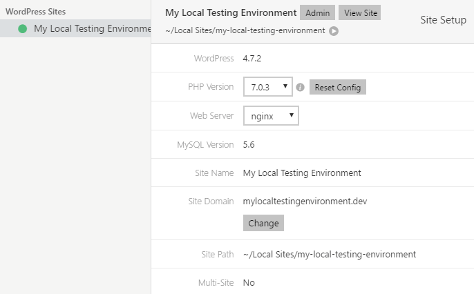 Reviewing the details of your new local WordPress site.