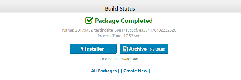Downloading your Duplicator package.